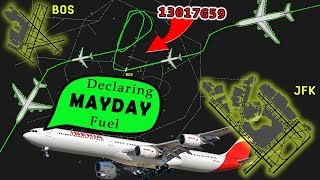 [REAL ATC] Iberia A340 declares MAYDAY FUEL and diverts to JFK | EXTREME WEATHER!