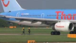 ThomsonFly 757 bird strike & flames captured on video