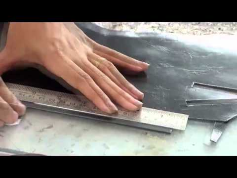 Cutting - Upper  Knife Cutting - Artisan Handmade Handcrafted  Leather Shoe Sandal