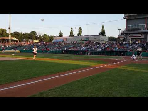 Rod Pelley Throws Out The First Pitch At The ValleyCats Game