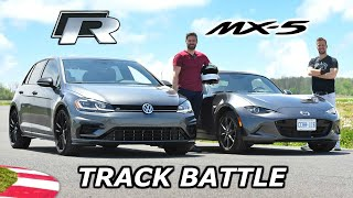 2019 Mazda MX-5 vs VW Golf R - TRACK REVIEW // DRAG RACE & LAP TIMES
