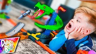 Giant Hot Wheels Snake Ate His Toy Car!