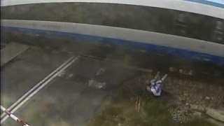 AP-Cyclist survives collision with train at 90 MPH speed..