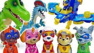 Freeze You Bad Dinosaurs~! Paw Patrol Mighty Pups #ToyMartTV