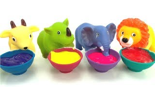 Learn Colors With Squeaky ZOO Animal Bath Toys And Paint/Finger Family Nursery Rhyme/Toys Bath Time