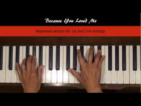 Baixar Because You Loved Me Piano Tutorial SLOW Sections