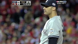 WS 2009 Gm3: Pettitte fans seven, hits RBI single