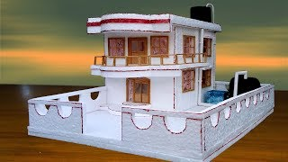 How to Make Beautiful House from Thermocol   Easy House Craft