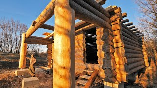 Building Off Grid Log Cabin - S 2 Ep 3 /  Balcony Support Logs