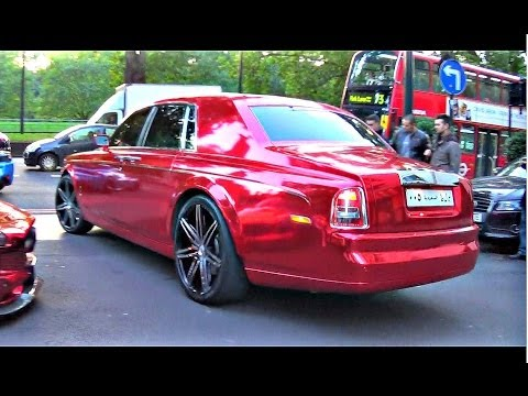 Pimped up Chrome Red Rolls Royce Phantom