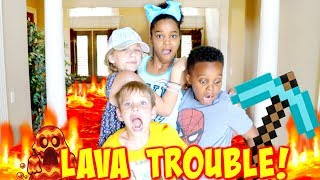 THE FLOOR IS LAVA TROUBLE with Shasha and Shiloh Onyx Kids - SuperHero Kids