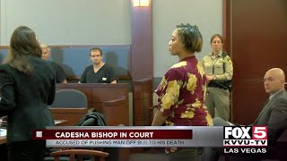 Woman accused of pushing man off bus appears in court