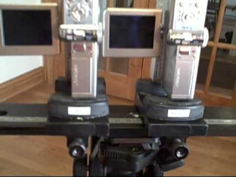 Two Canon TX-1's 3D slider mount set up