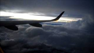 Turbulence, thunderstorm and dark sky during take-off