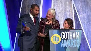 Jordan Peele winning the Best Screenplay 2017 IFP Gotham Award for GET OUT