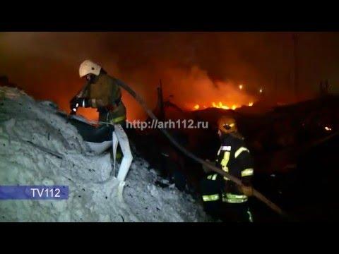 Пожар в ангаре на Окружном шоссе в Архангельске