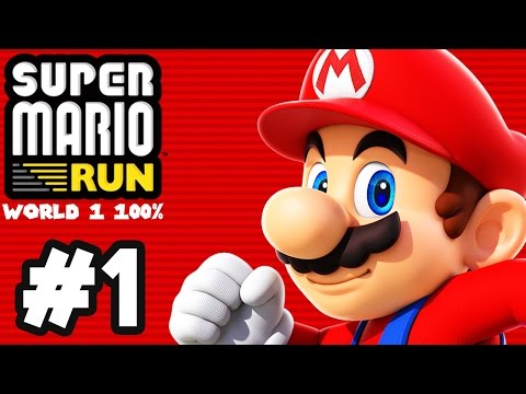 Super Mario Run Gameplay Walkthrough Part 1 - World 1 100% (ALL PINK COINS)