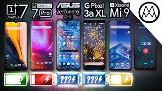 OnePlus 7 vs 7 Pro / Zenfone 6 / Pixel 3a XL / Mi 9 Battery Life DRAIN Test.