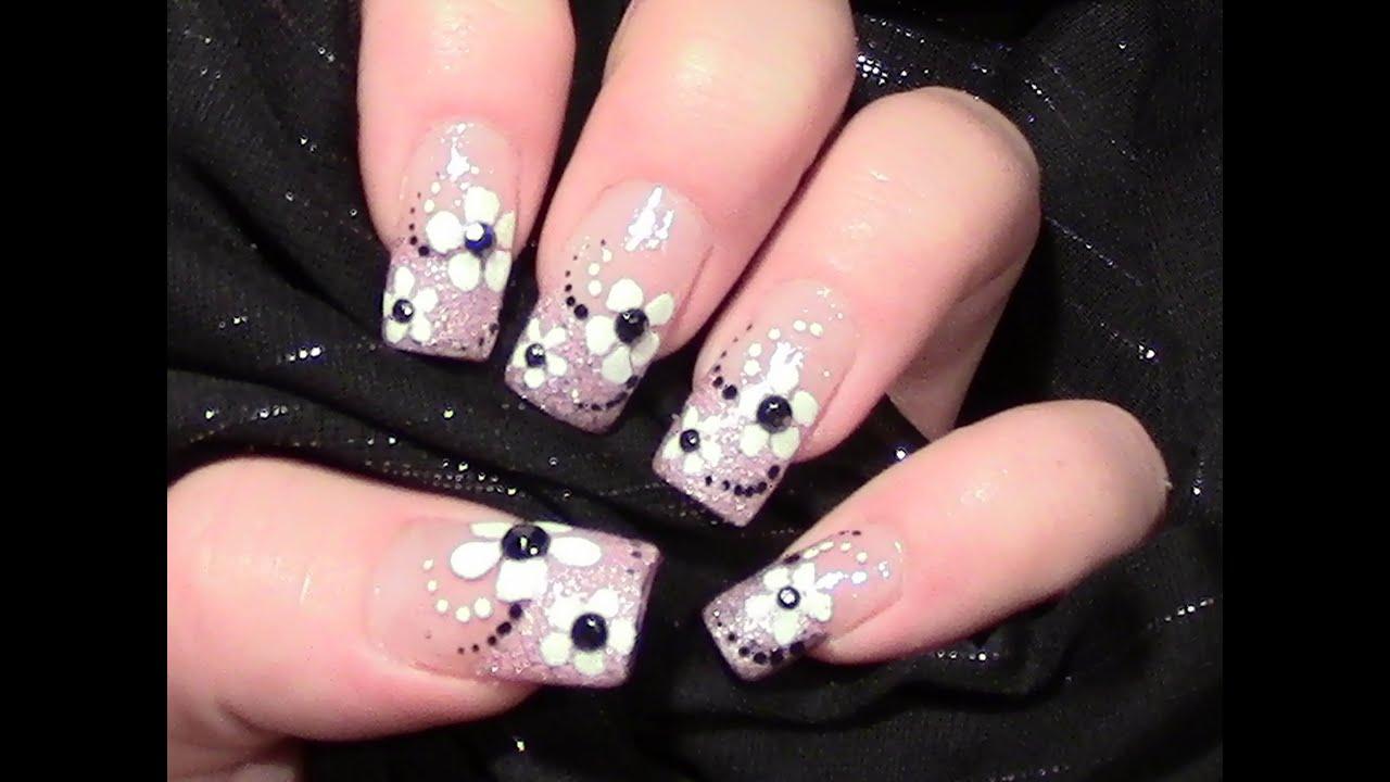 Rosa Glitter Bl 252 Mchen Nageldesign Selber Machen Simple Flower Nail Design N 228 Gel Lackieren
