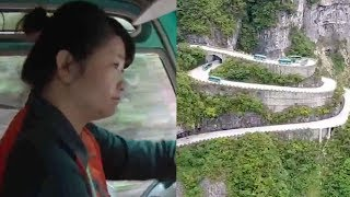 Driver makes 2,000 sharp turns a day on winding Tianmen Mountain road