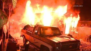 89th Street House Fire / South LA   RAW FOOTAGE