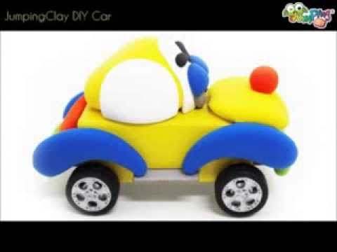 Jumping Clay Car DIY - Kids Air Dry Crafty Clay