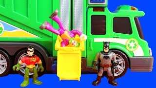 Imaginext Batman And Robin Drive Garbage Truck And Take Out Joker And Skateboard Dude Trash