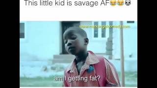 Little african girl makes fun of fat lady