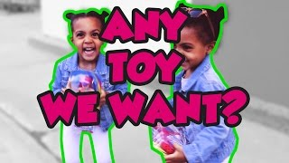 TWINS EXCITED TO GET ANY TOY THEY WANT!
