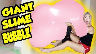 GIANT SLIME BUBBLE USING 120LBS OF SLIME! LEAF BLOWER VS GIANT SLIME! SO SATISFYING