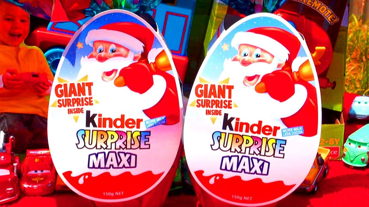 2 Kinder Surprise Maxi Eggs Unboxing Christmas Toys Kinder