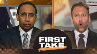Stephen A., Max argue Rockets' adding Carmelo Anthony improves odds vs. Warriors | First Take | ESPN