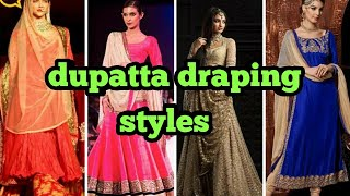 Latest different dupatta drapping style/how to style your dupatta or sari/stylish dupatta drapping