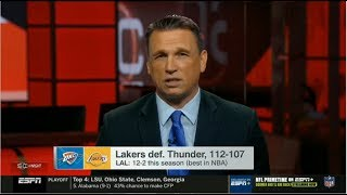 Tim Legler react to Lakers def. Thunder 112-107 to 12-2 this season (best in NBA)   ESPN SC