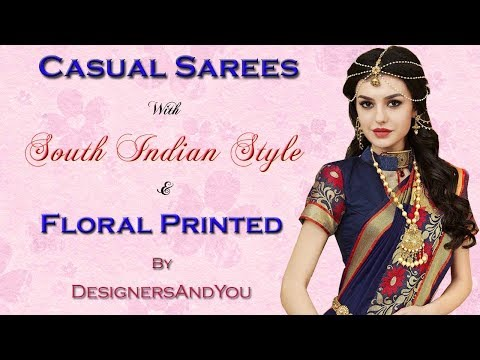 Plain Sarees Online: Simple Chiffon & Georgette Saree Blouse Designs for Casual Wear At Low Price