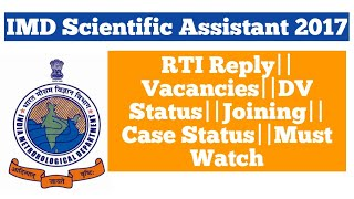 IMD Scientific Assistant 2017||RTI Reply||In Hindi