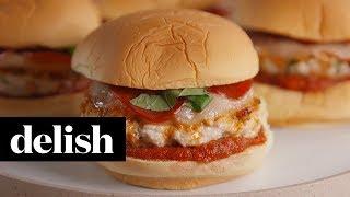 Chicken Pizza Burgers   Delish + Ragu
