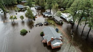 Drone footage of widespread flooding in Kinston, NC from Hurricane Florence