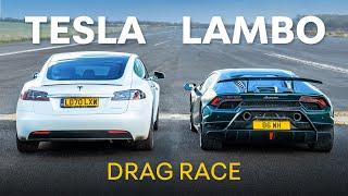 Lamborghini Huracan Performante v Tesla Model S Performance - DRAG RACE & 0-100-0 RACE