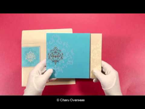 BLUE SHIMMERY DAMASK THEMED - SCREEN PRINTED WEDDING INVITATIONS - 123WeddingCards