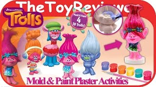 Trolls DIY 3D Mold and Paint Plaster Activity Cra-Z-Art Unboxing Toy Review by TheToyReviewer