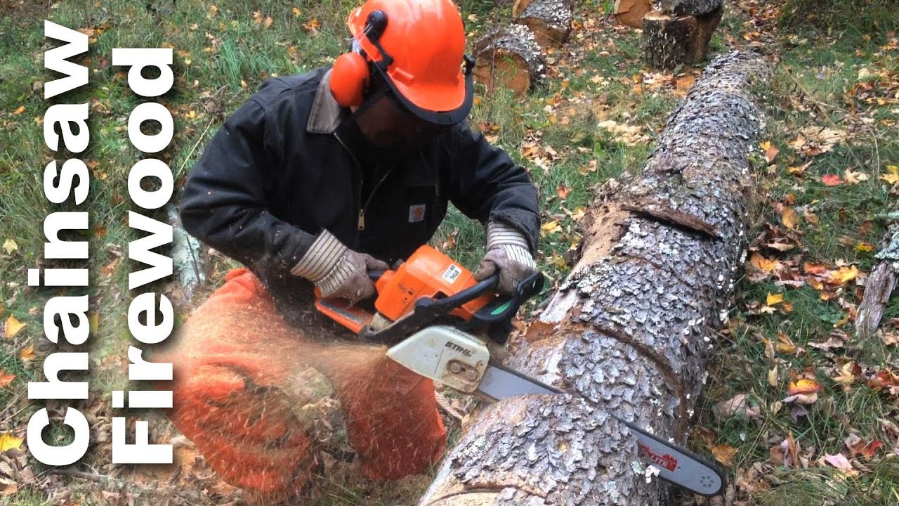 Using A Chainsaw To Cut Firewood - GardenFork