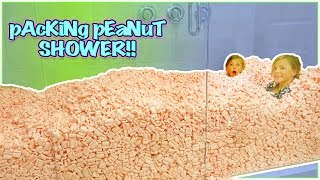 LOST MY iPHONE IN A GIANT SHOWER FILLED WITH PACKING PEANUTS! SURVIVING FOR 24 HOURS