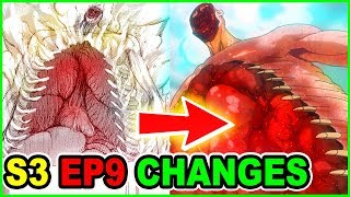 FACELESS 120M ROD TITAN UPGRADED! | ALL MAJOR CUTS & CHANGES | Attack on Titan Season 3 Episode 9