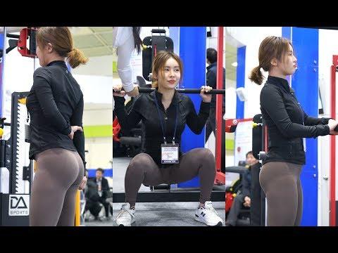 'MISS SEXY BACK' 김하늘(Kim Ha-neul) 트레이너 밀리언짐 부스 '스미스 머신' 시연 [180225 SPOEX2018]【4K 직캠/fancam】