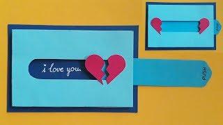 Hướng dẫn làm thiệp kéo hình trái tim   |  Valentine day  | Dzi's house