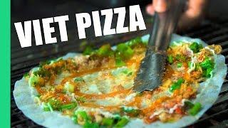 Vietnamese Pizza! (bánh tráng nướng) Street Food in Vietnam