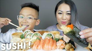 SUSHI House Roll, Salmon Sashimi & Sushi Cones Mukbang | N.E Let's Eat
