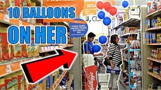 PINNING BALLOONS TO STRANGERS CHALLENGE**KNIFE PULLED**