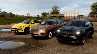 Forza Horizon 4 Drag race: Lamborghini Urus vs Jeep Grand Cherokee Trackhawk vs Bentley Bentayga